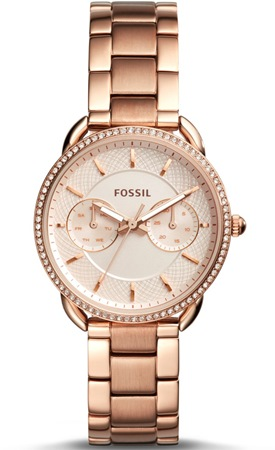 Fossil Tailor Multifunction Rose Gold Tone Stainless Steel 35.0mm ES4264P Quartz USD 155.00