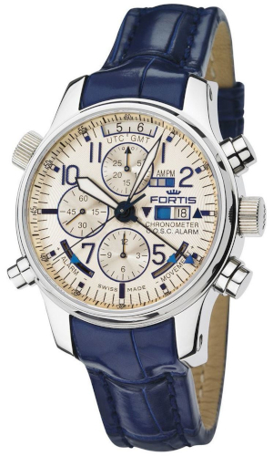EUR 14.500,00 Fortis F-43 Flieger Chronograph Alarm GMT COSC 703.20.92.LC05